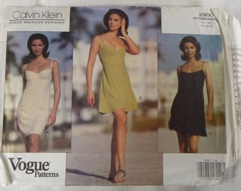 Vintage VOGUE 2900 American Designer CALVIN KLEIN Sewing Pattern, Sundress from 1992, Sz 12 14 16 in Original Folds