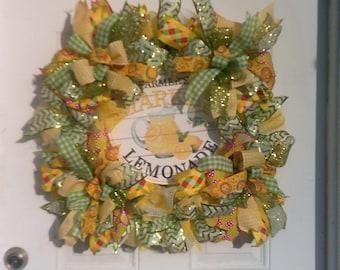 Summer Wreath, Lemonade Wreath, Spring Wreath, Yellow Mesh Wreath, Front Door Wreath
