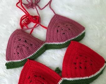 Watermelon Crochet Bralette in Pink or Red