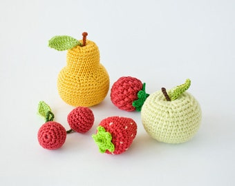 Crochet Baby Rattles Fruit, Set of 5 - apple, pear, raspberry, srawberry, cherry - crochet toys for baby