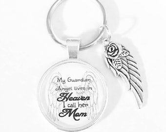 Mom Angel Keychain, Guardian Angel Mother Keychain, In Heaven Memory Wing Miss You, Sympathy Gift, Memorial, Remembrance  Keychain