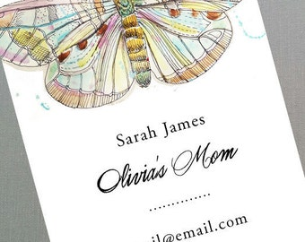 Butterfly Business card, Butterfly Mothers Card, Calling Card, Watercolor Butterfly, Set of 50