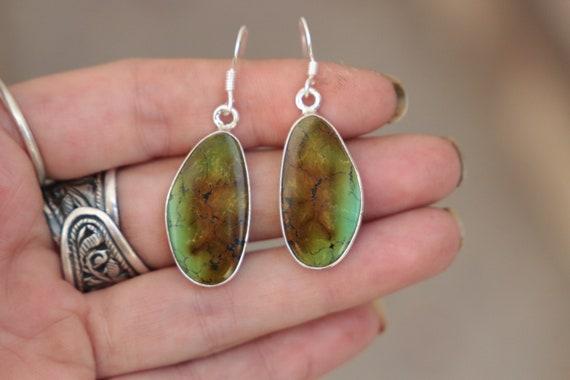EARTHY TURQUOISE EARRINGS - 925 Sterling Silver Earrings - Gemstone - Navajo - Handmade - Natural - Vintage style - Bespoke - Birthstone