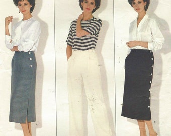 1980s Calvin Klein Womens Side Buttoned Skirt and Straight Legged Pants Vogue Sewing Pattern 1127 Size 12 Waist 26 1/2 American Designer