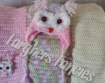Crochet Pink Owl Hat and Blanket Set