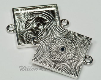 20 Pack 25mm Square Pendant Trays Silver Plated, Double Connector Bezels (19-12-280) Blank Bezel Cabochon Setting