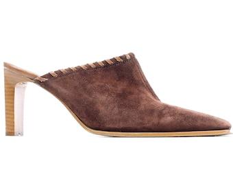 Women Us 7.5 Suede Leather Mules 90s Brown Boho Heeled Slip On 1990s Summer Shoes Slingback High Heel Slider Sandals Heels UK 5 EUR 38