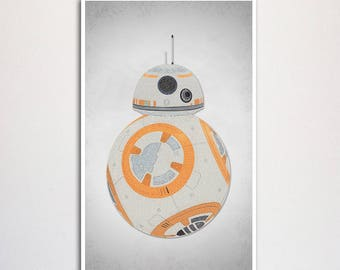 """Limited Edition Force Awakens BB8 Typography Art Print - 11x17"""""""