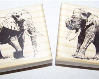 Elephants - Lot of 2 new mounted rubber stamps elephant