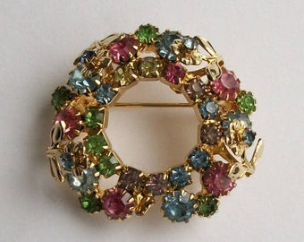 Vintage Colorful Flower Brooch Circle Brooch Rhinestone Brooch Colorful Jewelry Vintage Pin Unsigned Jewelry