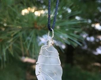 Clear Sea Glass wire wrapped pendant / vitaminsea