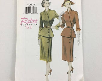 Butterick Retro 1940s Suit with peplum reissued pattern uncut and factory folded Out of Print