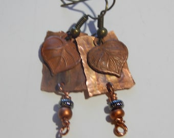 Heart shaped leaf copper earrings.  heart earrings, leaf earrings, copper earrings, dangle and drop earrings, nature earrings, minimalist