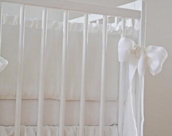 White linen crib bumper  - pure linen