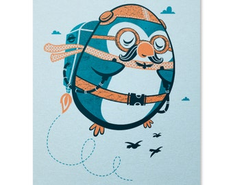 Jetpack Penguin Print / Penguin Print / Cute Print / Animal Wall Art / Jetpack / Flying Art Print / Home Decor / 8 x 10
