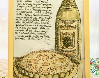 Vintage Boho Kitchen Art. Mushroom Quiche Recipe and Hand-Drawn Graphics in Yellow Frame. Adorable!