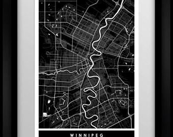 Winnipeg - Manitoba - Canada - City Minimalist Map Art Print - Black and White - Poster