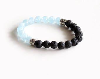 Aquamarine and Black Lava Bracelet - Wrist Mala - Healing Bracelet - Grounding and Stress Relief - Yoga Bracelet - Chakra Bracelet