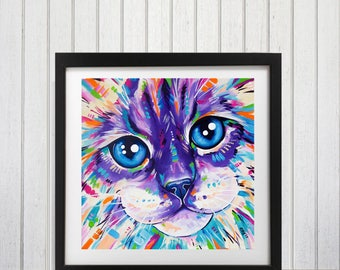 Cat wall art, Brightly colored, Ragdoll cat, Cat lover gift, Cat art print, Cat decor