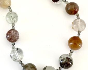Large Bead Necklace, Tourmelinated/Rutilated Quartz Bead Necklace, Beautiful Quartz and Swarovski Necklace, Large Rare Bead Choker