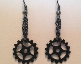 Gun Metal Gear Earrings - fishhooks