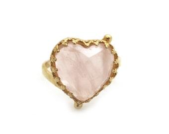 Rose Quartz Heart Ring, Gold Ring, Heart Ring, Rose Quartz Heart, Gold Heart Ring, Heart Shape Ring, Valentine Ring, Romantic Ring, For Her