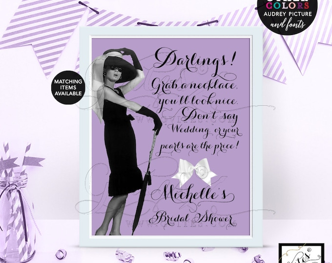 """Purple Pearl Necklace Game Sign - Audrey Hepburn PERSONALIZED Pearl Necklace game, CUSTOMIZABLE picture, colors & fonts 8x10"""""""