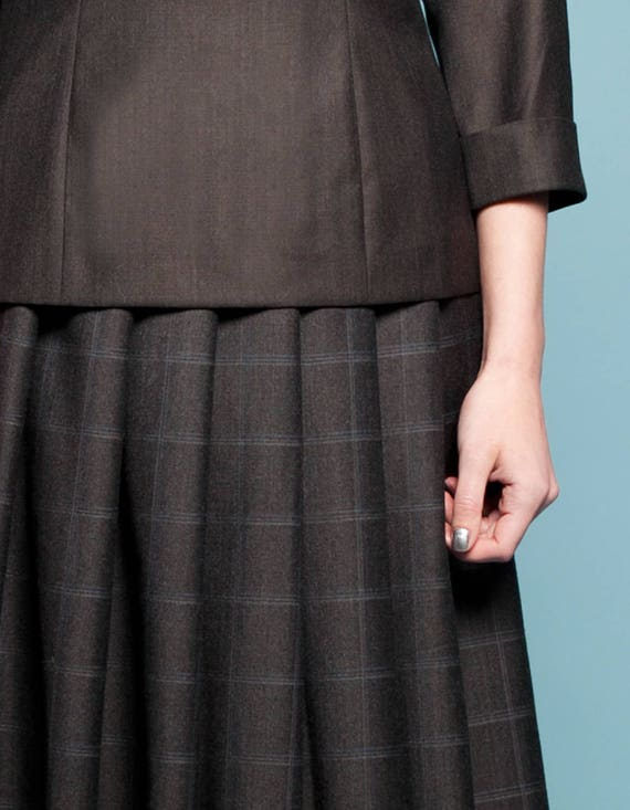 wool Pleated plaid with skirt length blouse Skirts Knee Womens and wool Grey skirts skirt Grey pockets Skirt skirt skirt Ladies Handmade wI8dqc
