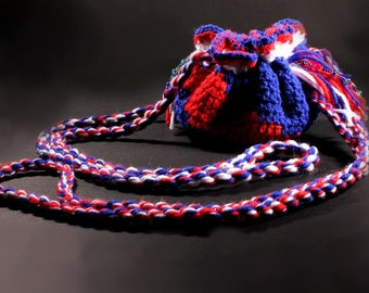 Crochet Drawstring Boho Pouch with Leather Interior in Patriotic Red, White and Blue