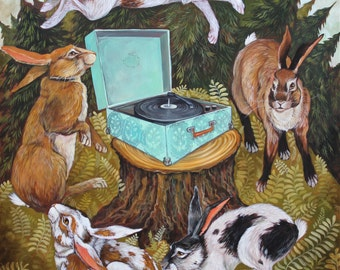 Rabbit Record Player by Elizabeth Foster art print