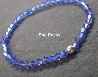 Sapphire Blue Swarovski crystal stretch bracelet with Sterling Silver or Gold Fill bead - September Birthstone - 6th Chakra jewelry gift
