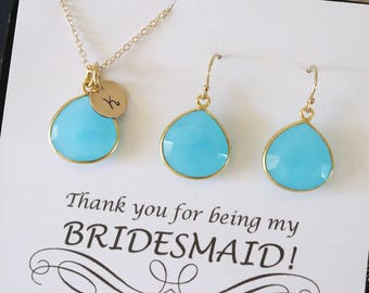 6 Aqua Blue Initial Bridesmaid Necklace and Earring set, Bridesmaid Gift, Blue Gemstone, 14k Gold Filled, Initial Jewelry, Personalized