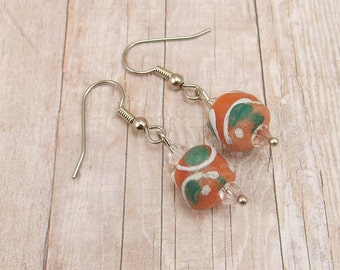 Earrings - African Painted Glass Beads - Clay Colored with White and Green Paint - Powder Glass - Tribal - Trade - Orange - Terra Cotta