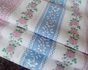 Vintage French Fabric Pink Roses and Rosebuds Pink Blue and White Stripes Suitable for Patchwork Pillows