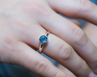 Blue Topaz Engagement Ring, Gold Topaz Ring, Swiss Blue Topaz Ring, Topaz Solitaire Ring