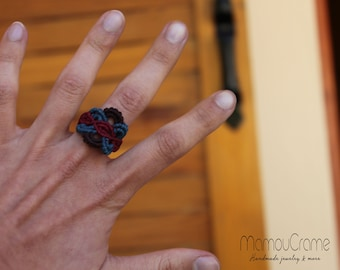Macrame ring 3-colored
