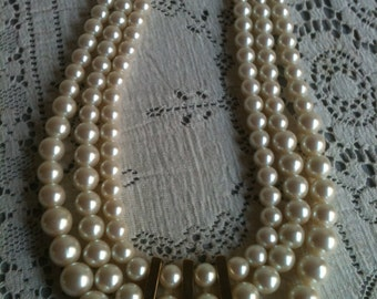 Three Strands of Beautiful Pearls with Gold Tone Accents