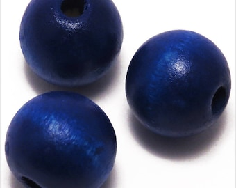 20 wood beads 14mm ultramarine blue