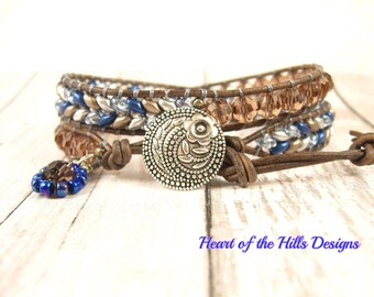 Blue Double Wrap Leather Bracelet, Silver Floral Button Closure, Beaded with Czech SuperDuo and Fire-Polished Crystals with Flower Charm