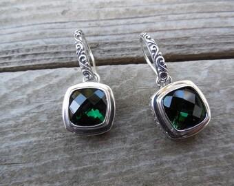 Green amethyst earrings in sterling silver 925