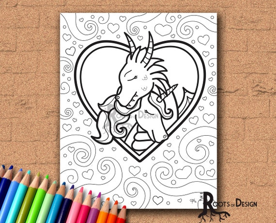 Instant Download Coloring Page Dragon And Unicorn In Love