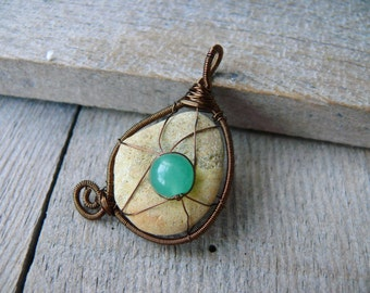 Sea stone pendant, Nephrite bead, genuine sea stone, sea stone jewelry, wire wrapped pendant, beach stone pendant, copper wire