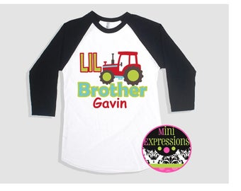 Lil Brother Tractor Raglan shirt Personalized Just For You