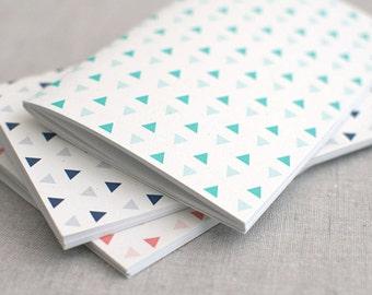 Geometric Notebook & Pencil - 3 Sizes Midori Insert, Triangle Pattern Mint Navy Coral - Blank Lined Dot Grid Notebook, Stocking Stuffer