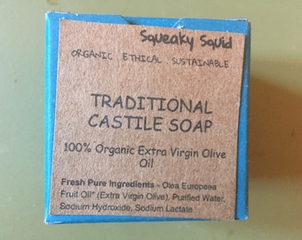 TRADITIONAL CASTILE - Organic Soap, Natural Soap, Gentle Soap, Unscented Soap, Olive Oil Soap, Moisturizing Soap