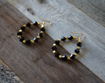 Black and Gold Beaded Hoop Earrings, Beaded Hoop Earrings, Teardrop Beaded Earrings, Black and Gold Hoops, Handmade Beaded Hoops