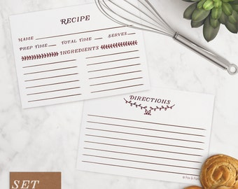 Recipe Card Set of 10   Leaves   4x6 recipe card, cooking, kitchen, recipes, bridal shower, birthday, mothers day, gifts for her, grandma