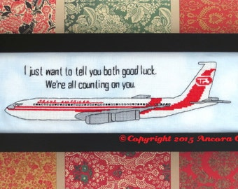 """Airplane Movie Cross Stitch """"We're all counting on you"""" Pattern PDF"""