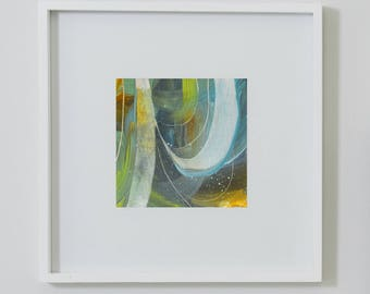 After the Rain II. Small Abstract Painting. Original. Modern Art. Contemporary Acrylic Painting. Green, Blue, Orange. Canvas Wall Art.