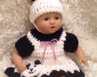 12 Inch Doll clothes,15 inch Doll clothes,Soft bodied Dolls, Panda Bear Dress Set,Hat ,Dress and Shoes